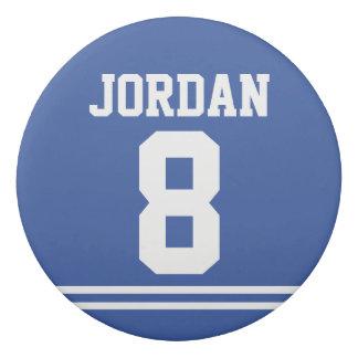 Gomme Le football bleu Jersey avec le nom et le nombre