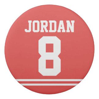 Gomme Le football rouge Jersey avec le nom et le nombre