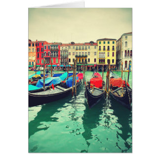 Gondoles sur le canal grand, Venise, Italie. Rétro Carte De Vœux