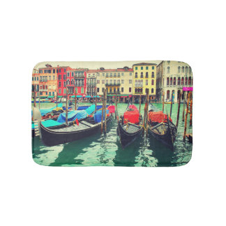 Gondoles sur le canal grand, Venise, Italie. Rétro Tapis De Bain