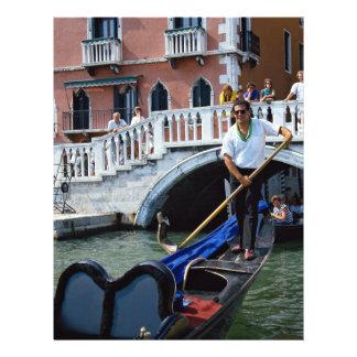 Gondolier chanteur traditionnel, Venise, Italie Prospectus Personnalisés
