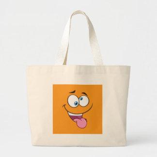 Goofy idiot Emoji carré Grand Sac