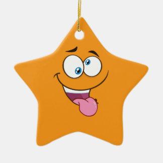 Goofy idiot Emoji carré Ornement Étoile En Céramique