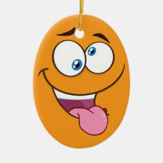 Goofy idiot Emoji carré Ornement Ovale En Céramique