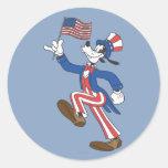 Goofy patriotique adhésif rond
