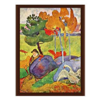 Gooseherd breton par Gauguin Paul (la meilleure Cartes Postales