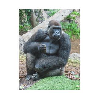 Gorille à la copie de toile de zoo