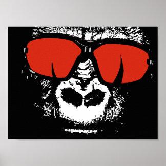 Gorille avec des verres poster