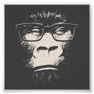 Gorille de hippie avec des verres impression photographique