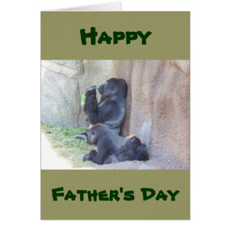 Gorille de papa et famille, fête des pères carte de vœux