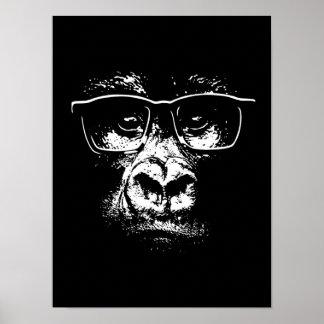 Gorille en verre affiche