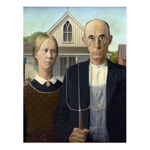 Gothique américain par Grant Wood Cartes Postales