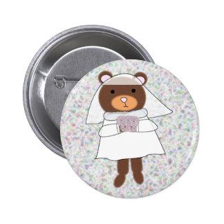goupille d ours de jeune mariée pin's avec agrafe