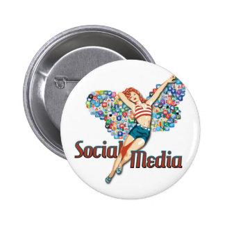 Goupille- sociale de fée de médias badge rond 5 cm