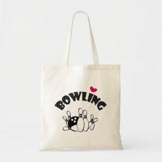 Goupilles et boule B&W de coeur de bowling Sacs Fourre-tout