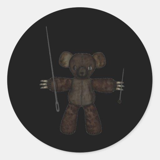 Goupilles et ours des aiguilles 3D Autocollants Ronds