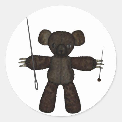 Goupilles et ours des aiguilles 3D Autocollant Rond