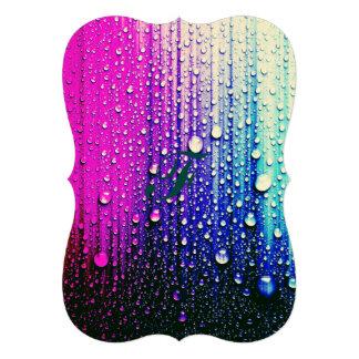 Gouttes de pluie abstraites de turquoise de rose carton d'invitation  12,7 cm x 17,78 cm