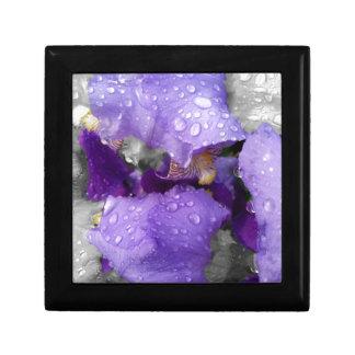 gouttes de pluie sur l'iris petite boîte à bijoux carrée