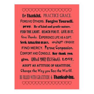 grâce et gratitude cartes postales