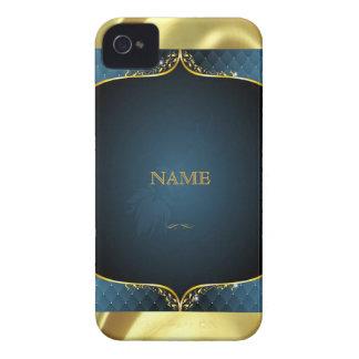 Gradient bleu + Accent de cadre d'or Coque iPhone 4 Case-Mate
