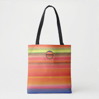 Gradient de couleur de rayure d'arc-en-ciel, tote bag