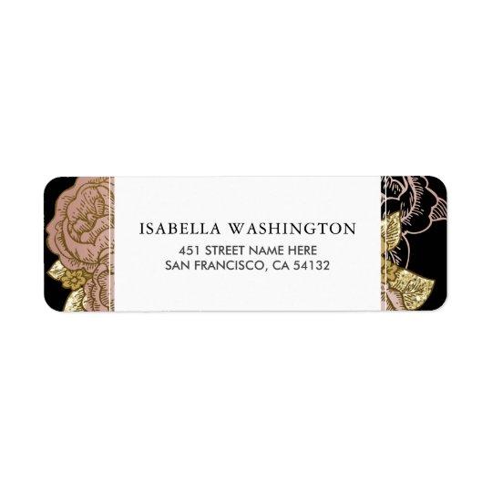 Gradient d'or et mariage floral d'or rose du étiquettes d'adresse retour