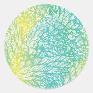 Gradient jaune et bleu vintage floral sticker rond