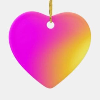 Gradient jaune rose ornement cœur en céramique