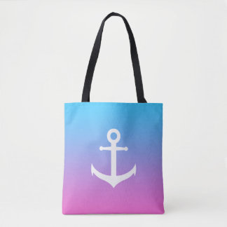 Gradient nautique Girly d'ancre Tote Bag