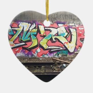 Graffiti Chicago Ornement Cœur En Céramique