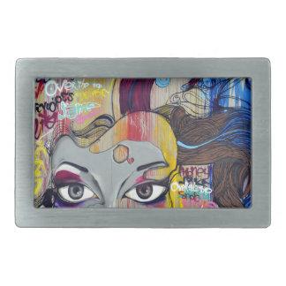 Graffiti coloré de femme avec des étiquettes boucle de ceinture rectangulaire