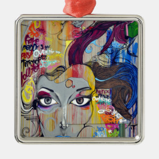 Graffiti coloré de femme avec des étiquettes ornement carré argenté