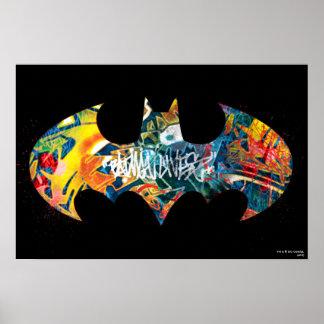 Graffiti du logo Neon/80s de Batman Affiche