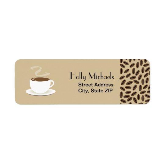 Grains de café et tasse d'étiquettes de adresse de étiquette d'adresse retour