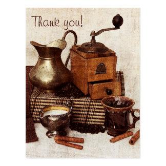Grains de café et vieux carte de remerciements de
