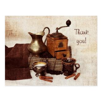 Grains de café et vieux carte de remerciements de  carte postale