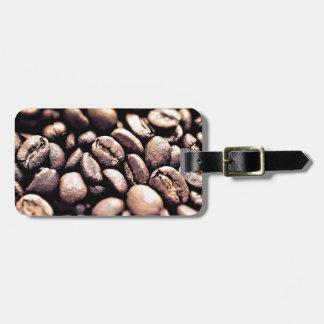 Grains de café rôtis frais étiquette à bagage