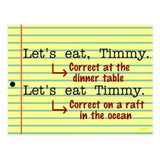 Grammaire drôle de ponctuation cartes postales