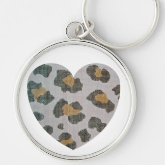 grand amour de léopard porte-clé rond argenté