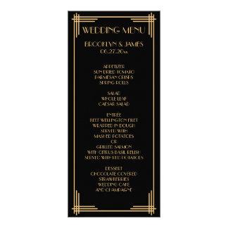 Grand art déco de Gatsby d'or noir épousant la Carte Double Customisable