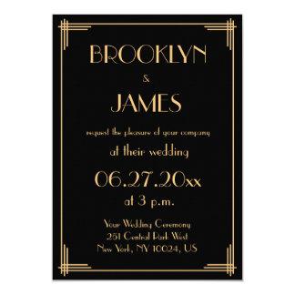 Grand art déco noir de Gatsby épousant des Carton D'invitation 12,7 Cm X 17,78 Cm