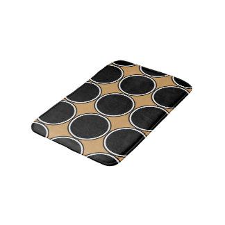 Grand blanc moderne de noir de motif de cercles tapis de bain