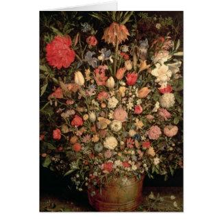 Grand bouquet des fleurs dans un baquet en bois cartes