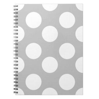 Grand carnet gris et blanc de point de polka