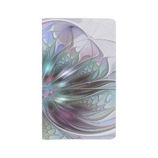Grand Carnet Moleskine Fleur moderne de fractale d'abrégé sur coloré