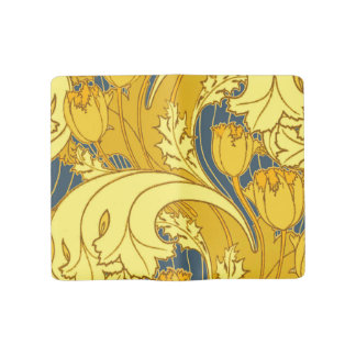 Grand Carnet Moleskine Motif vintage de tulipe de bleu et d'or