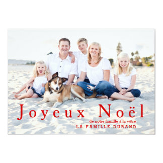 Grand carte photo moderne de Joyeux Noël en rouge Carton D'invitation 12,7 Cm X 17,78 Cm