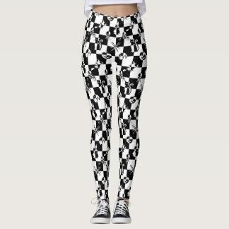 Grand contrôle vintage noir et blanc de disco de leggings