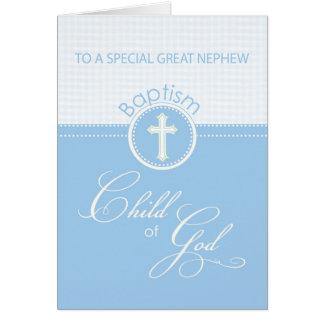 Grand enfant de bleu de félicitations de baptême cartes
